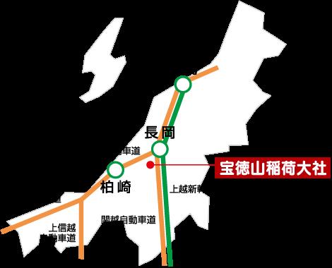 宝徳山稲荷大社までの地図(広域)のイメージ