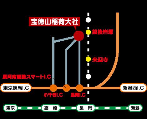 宝徳山稲荷大社までの地図(略図)のイメージ