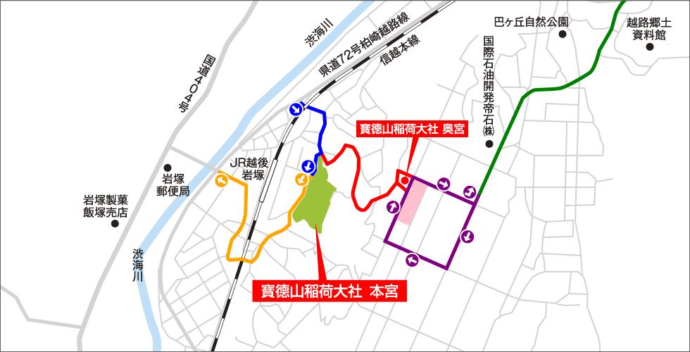 地図画像:神幸祭(よまつり)の交通規制について(11/2~11/3)